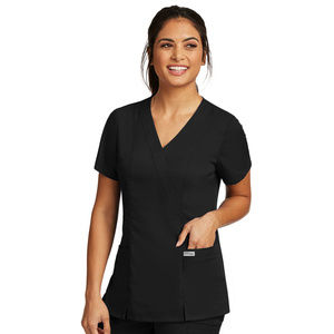 Grey's Anatomy Women's Black Mock Wrap Scrub Top